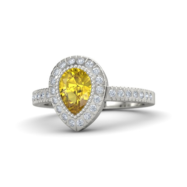 Pear Cut Halo Ring with Yellow Sapphire, Diamonds and White Gold