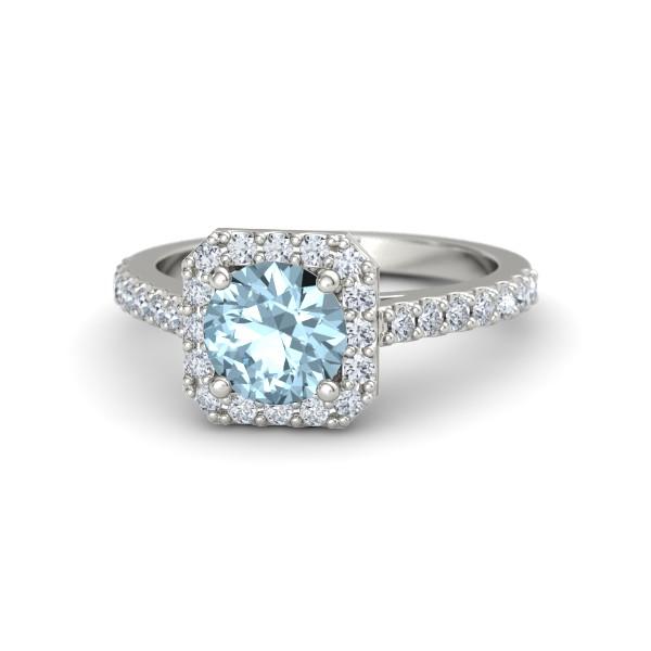 Adele Ring with Aquamarine, Diamonds and White Gold
