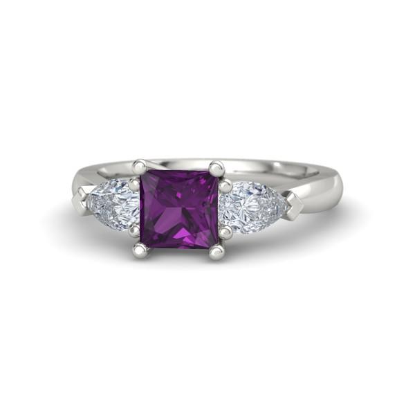 Trina Ring with Rhodolite Garnet, Diamonds and Platinum