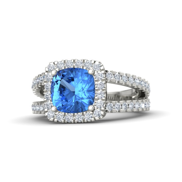 Simone Ring with Blue Topaz, Diamonds and White Gold