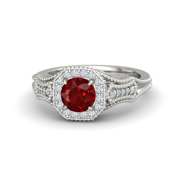 Melissa Ring with Ruby, Diamonds and White Gold