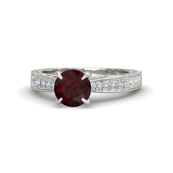 Megan Ring with Red Garnet, Diamonds and White Gold