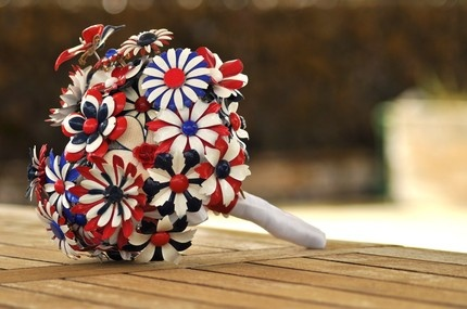 This fabulous Patriotic Wedding Bouquet is handmade of brooches! It's a forever keepsake and an unusual twist on the traditional flower bouquet.