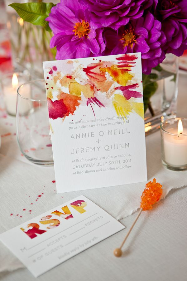 """Watercolors don't have to be pastel! This is a great example of that and I love how they used some modern computer techniques to create the text mask for the """"RSVP"""". Brilliant!"""