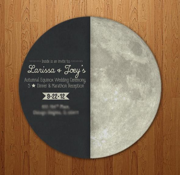 "This unique wedding invitation highlights ""La Bella Luna"" (the beautiful moon)."