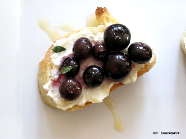 Cream ricotta works with the bright an acidic blueberry and these crostini are perfect for a cocktail hour nibble!