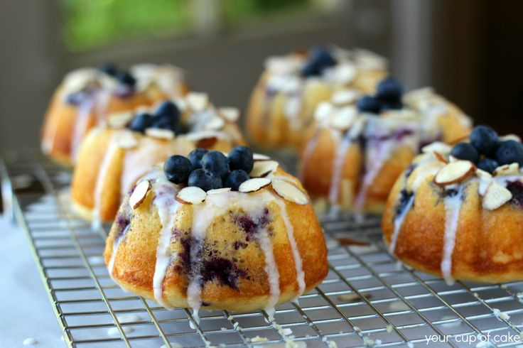 Lemon pairs really well with blueberries and these cute little bundt cakes would be great as a mini dessert or part of a dessert display! (or even for brunch the next day!)