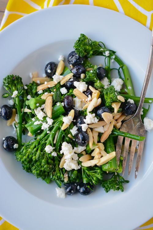 This is a beautiful and colorful salad featuring blueberries, broccolini, feta cheese and almonds. What a great salad to serve in mini portions as a passed appetizer or as part of a lovely salad station.