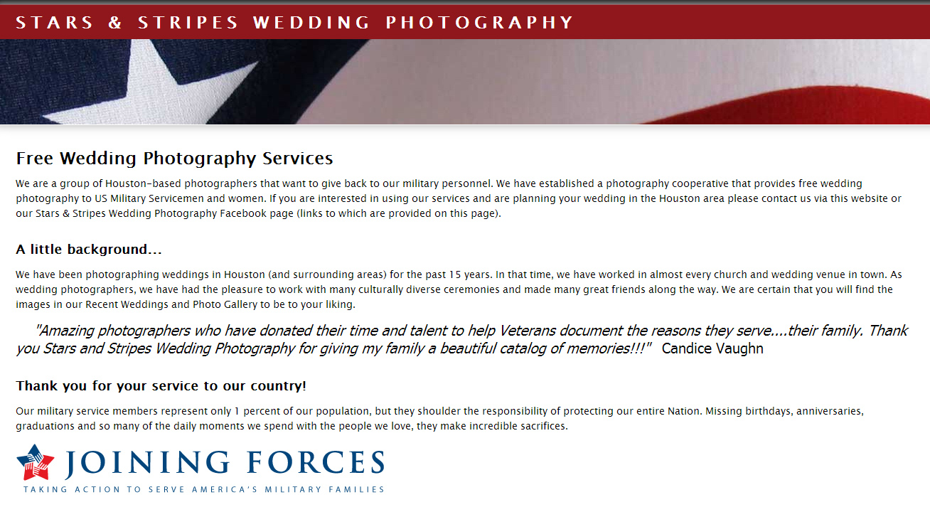 Stars and Stripes Wedding Photography - This non-profit charity based out of Texas provides free photography services to qualified military couples.