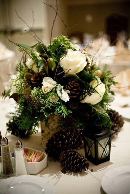 Pine Cone & Pine Boughs Centerpiece  - Birch, Pine Cones, Cedar, Roses and some extra greenery make a neutral colored and lovely arrangement for a table!