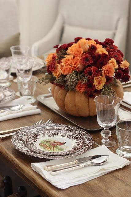 DIY Pumpkin & Flowers Centerpiece