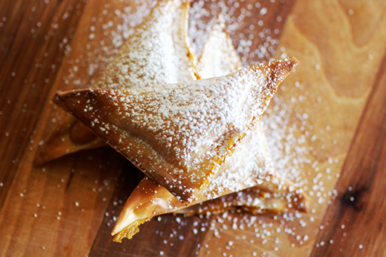 Baked Pumpkin Wontons - We love the idea of our own little baby pumpkin pie a la turnover. A little sprinkling of powdered sugar and you have a perfect little dessert!