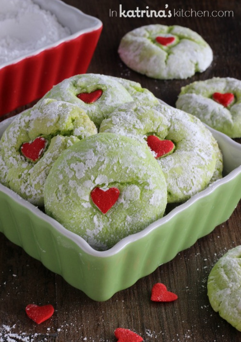 Grinch Cookies - There is something about these cookies that just are so darling and adorable that we can't help but want to include this on our list! Maybe it's the soft green color, the powdered sugar or the heart quin that just makes us melt! Whatever it is, we know this cookie makes a great addition to your holiday baking!