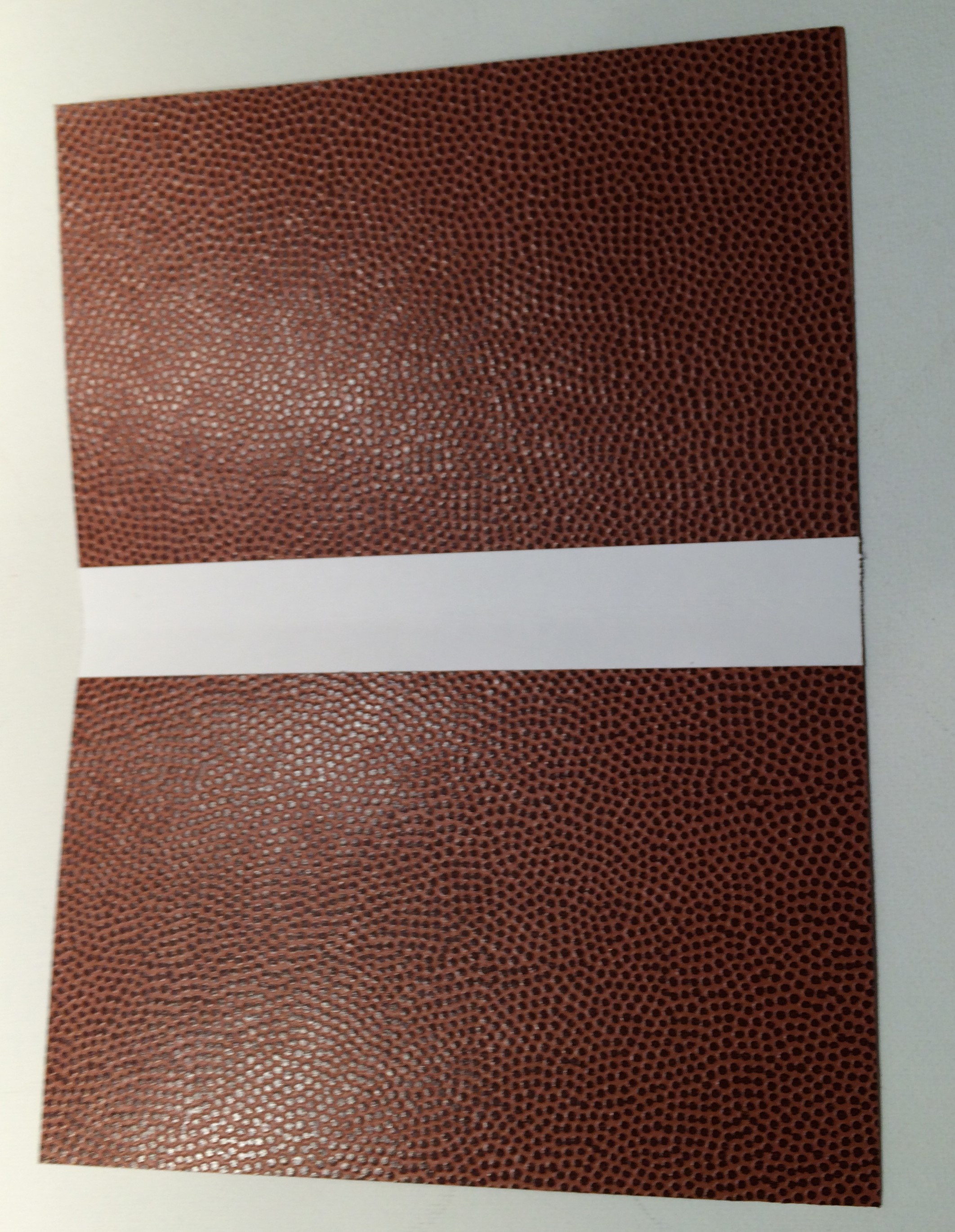 """We took two more 5"""" x 7"""" pieces of Football paper and secured them together. We cut a 1"""" strip of white card stock and glued another piece on top of it and then set this down the center of the two 5"""" x 5"""" panels to create a folder."""