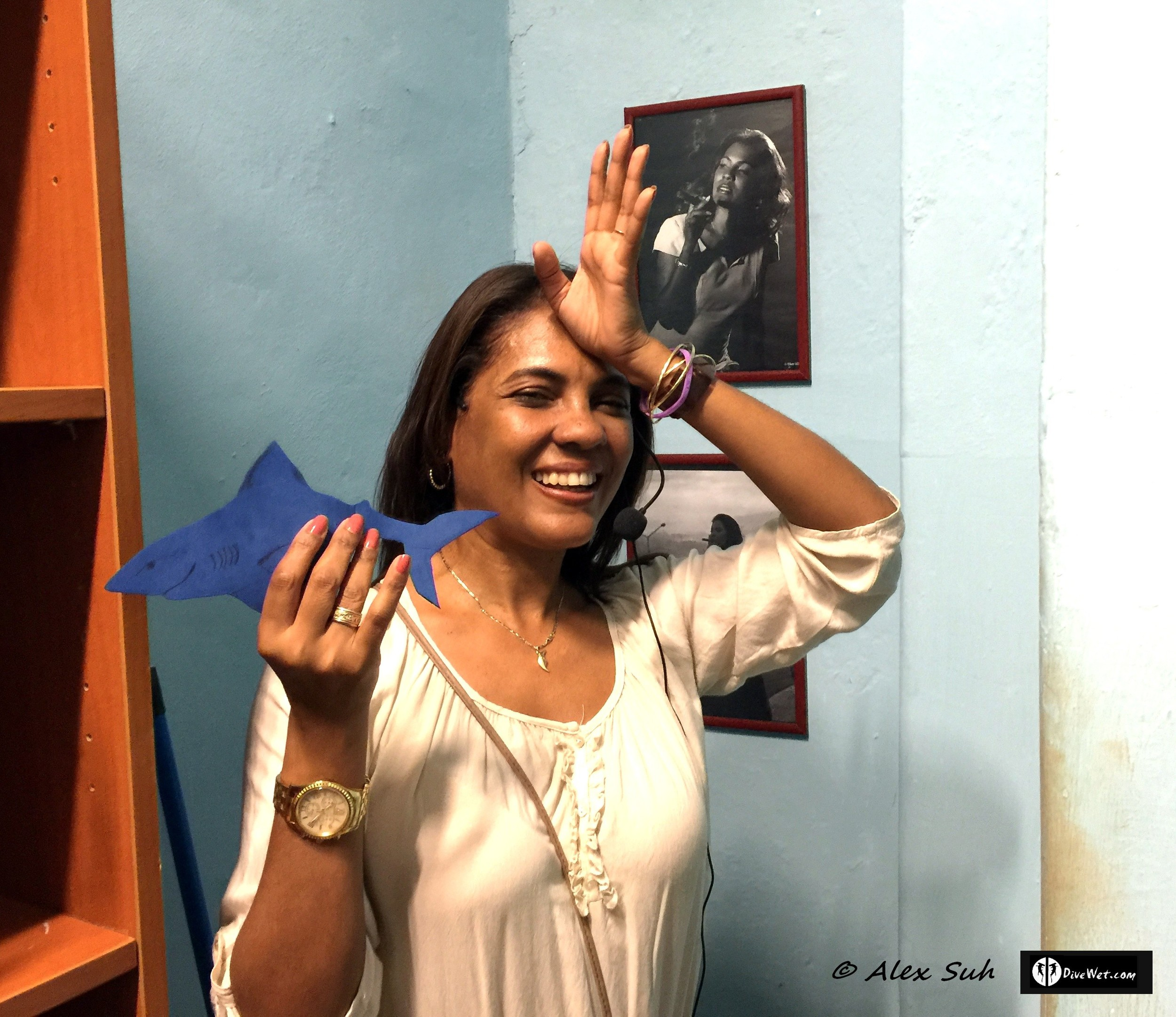 Cuban cigar tour guide showing her support for #StopSharkFinning with Spence the Shark. Her picture is hanging behind her