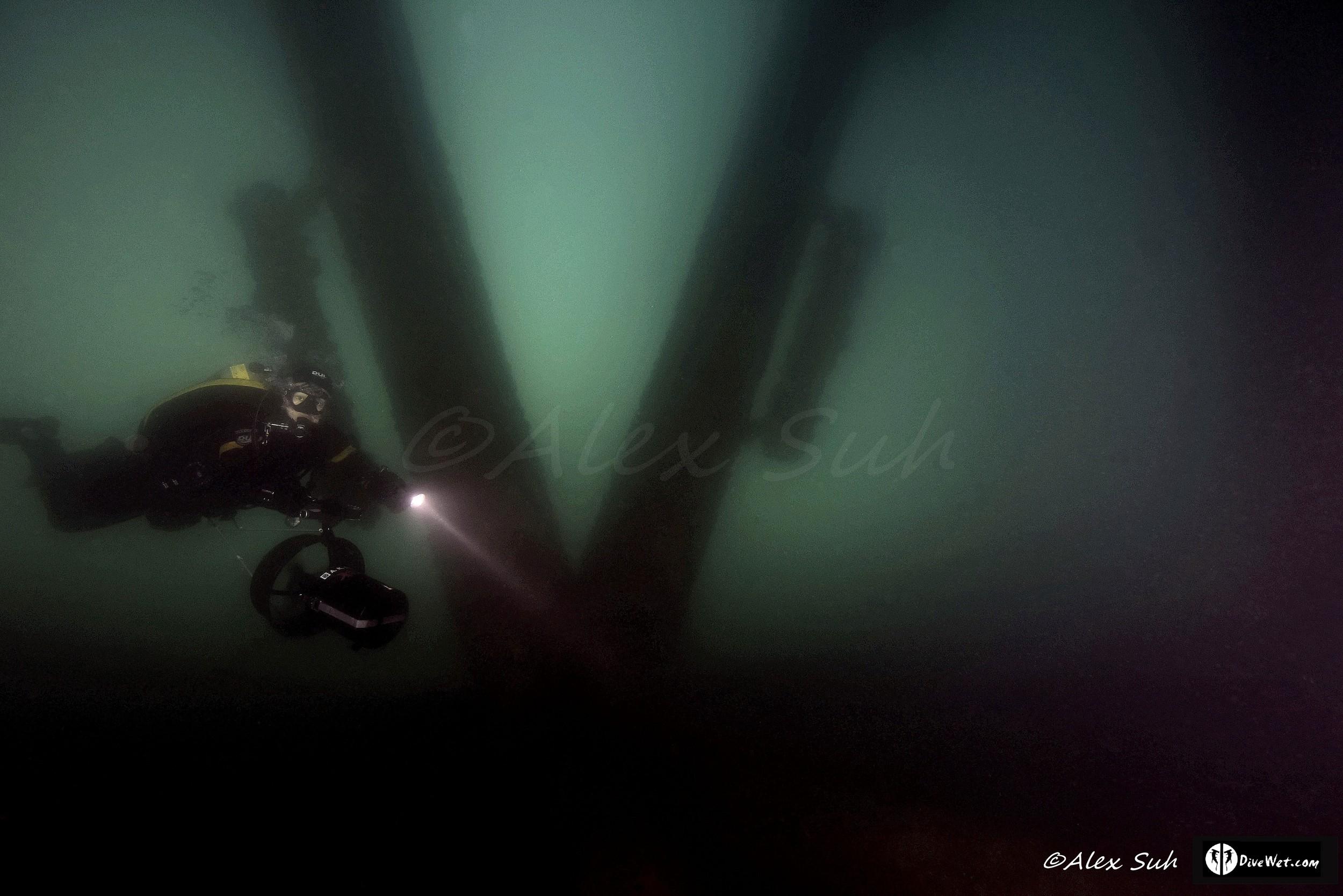 Tech Diver Under Eureka Oil Rig