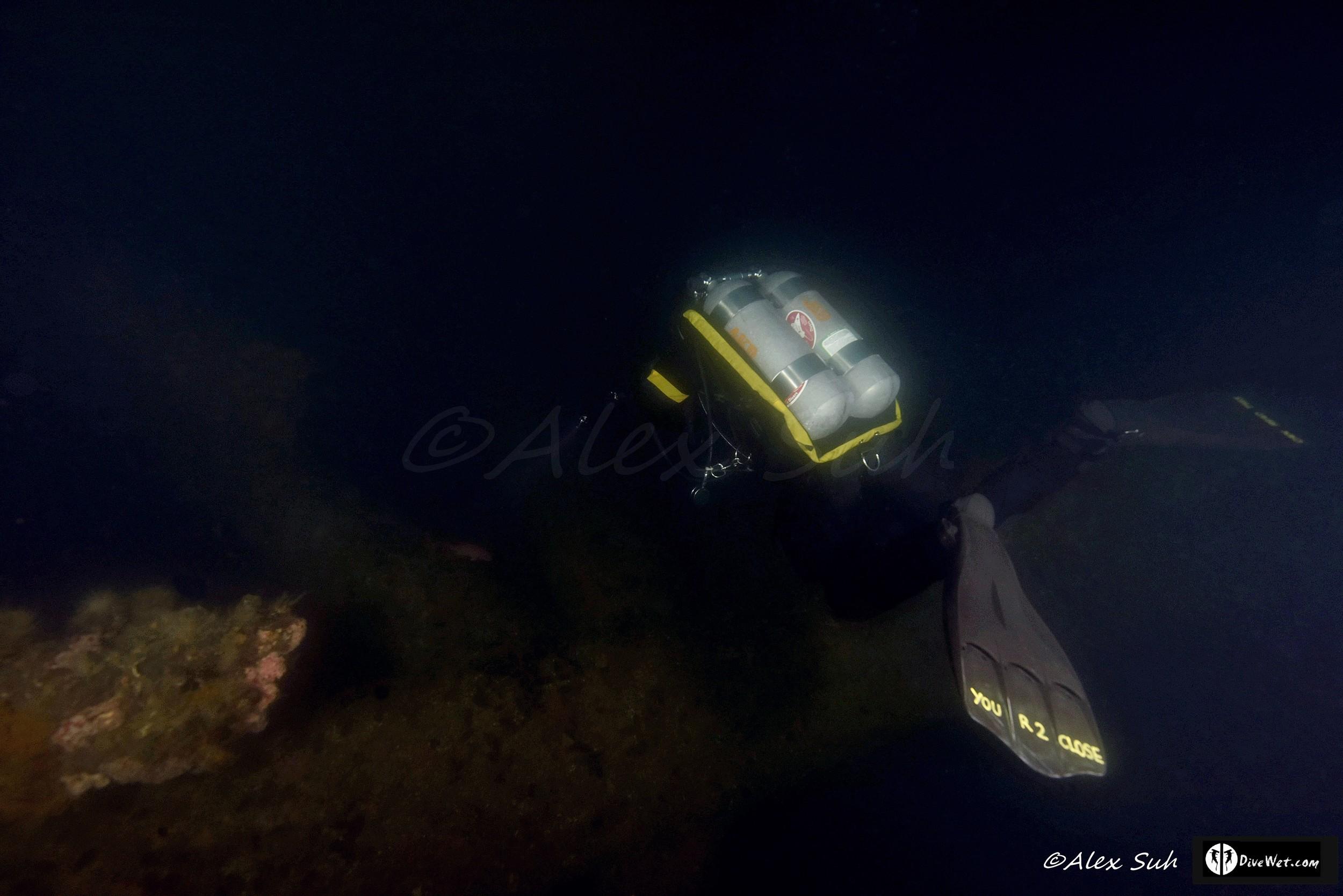 Double Tank Tech Diver Under Oil Rig