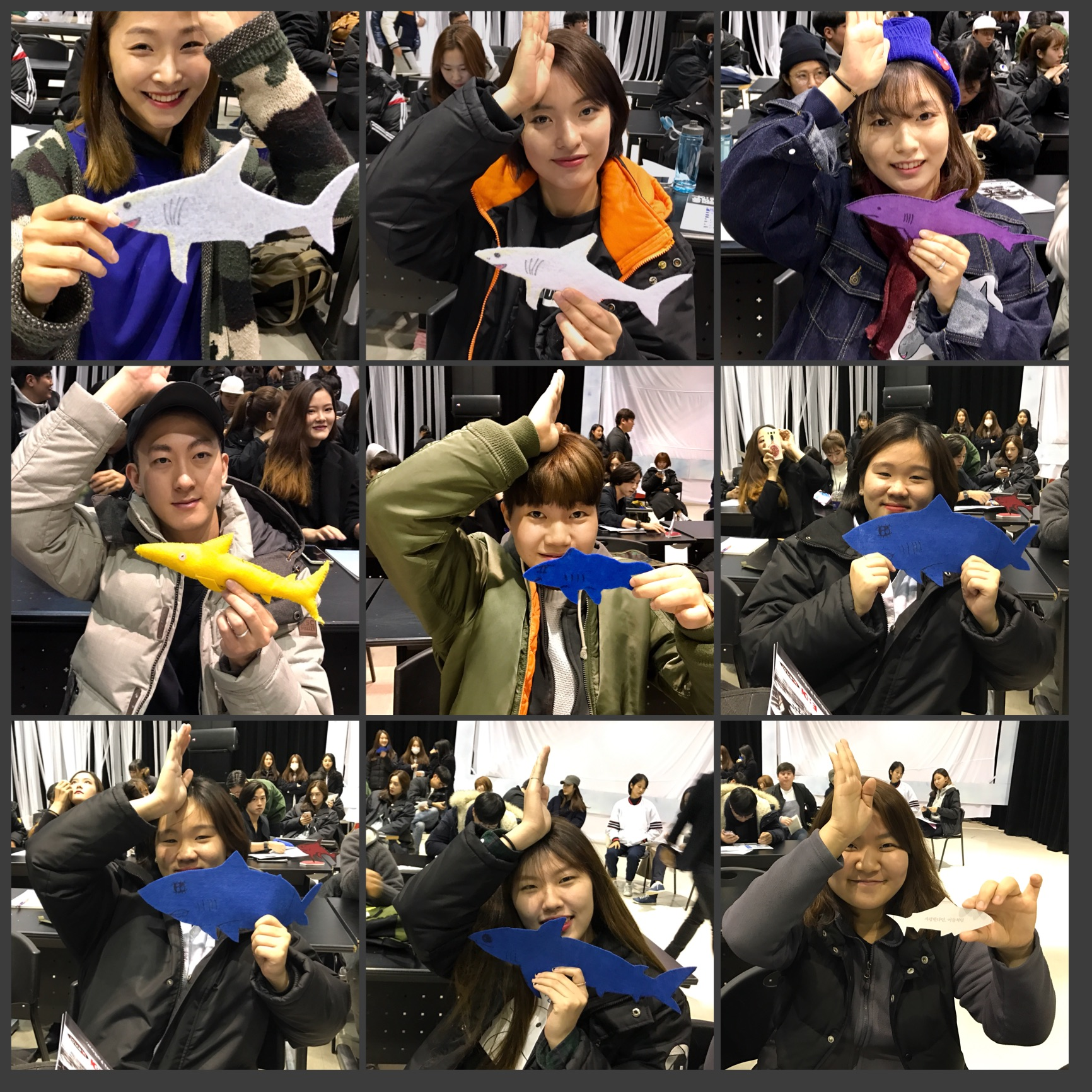 #SpenceTheShark with Seoul Institute of the Arts Students and their homemade sharks in honor of Spence