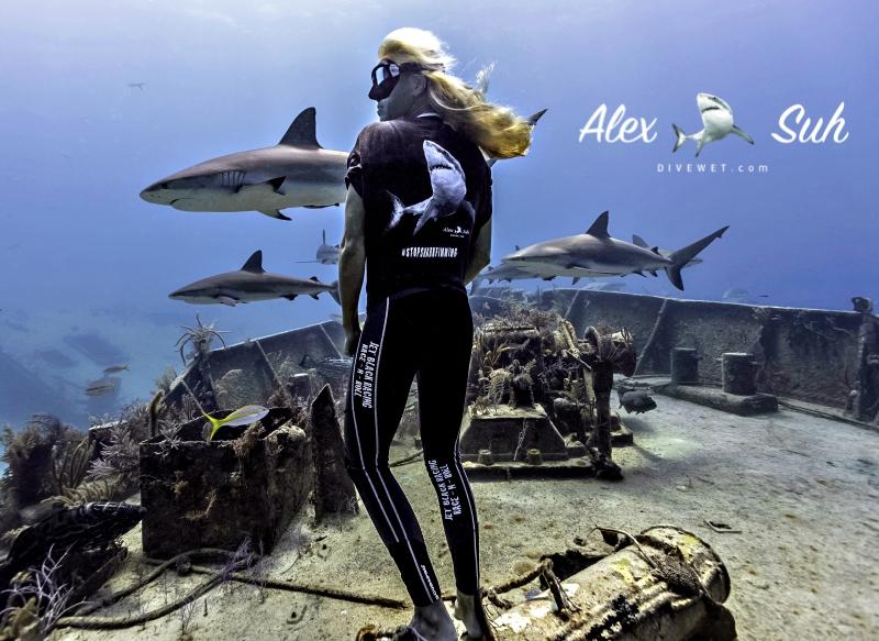 Freediver Liz Parkinson wearing DiveWet Prawno Blouse for #StopSharkFinning