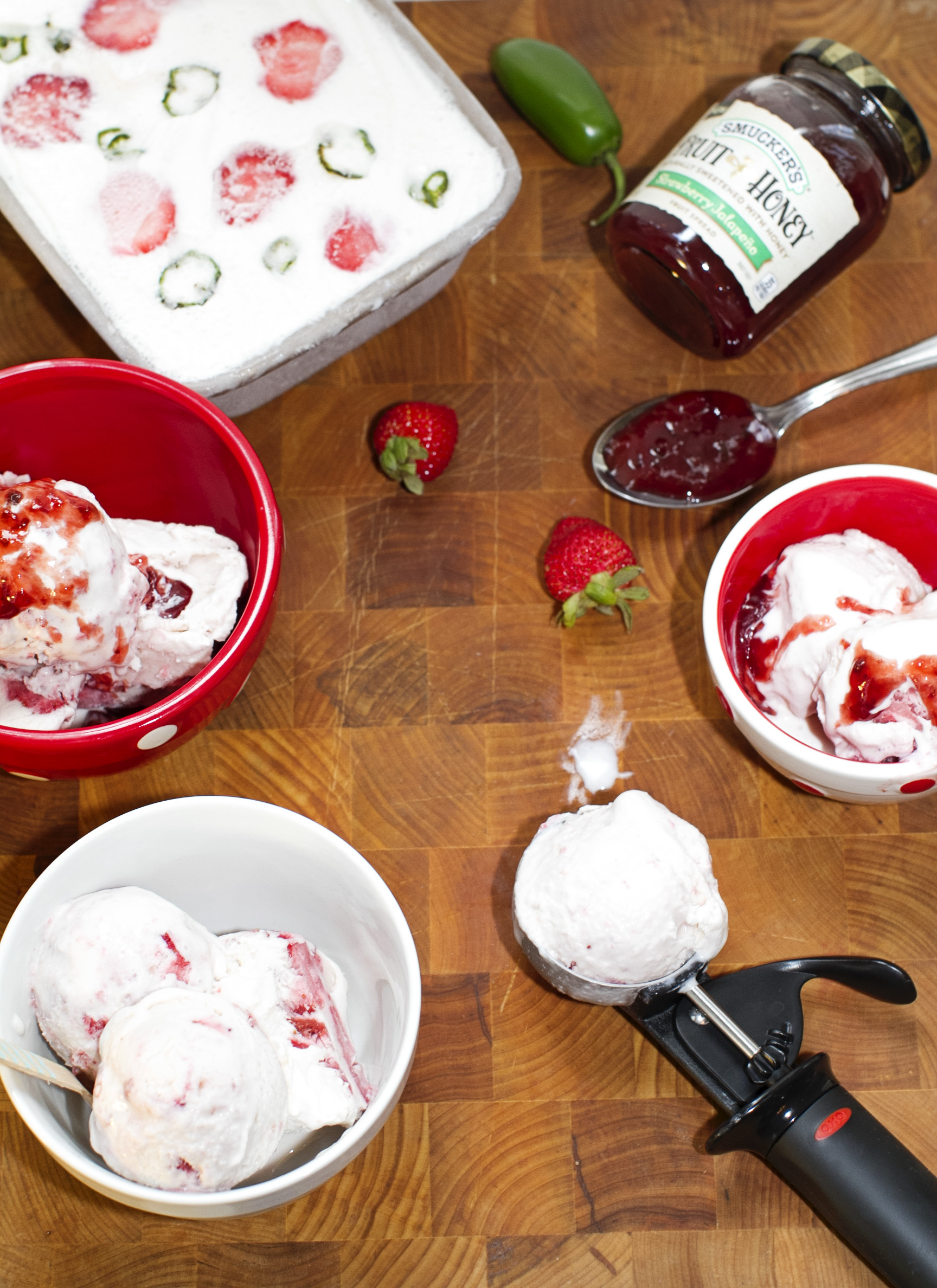 Strawberry Jalapeno No Churn Ice Cream #SpreadTheHeat