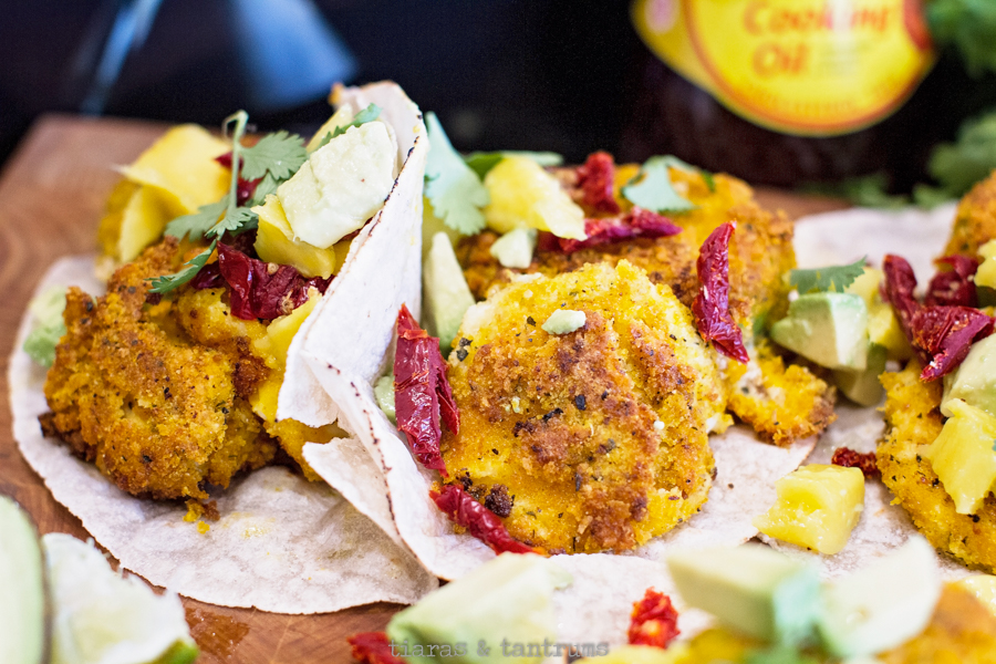 Mozzarella Stuffed Tacos with Fried Green Tomatillo