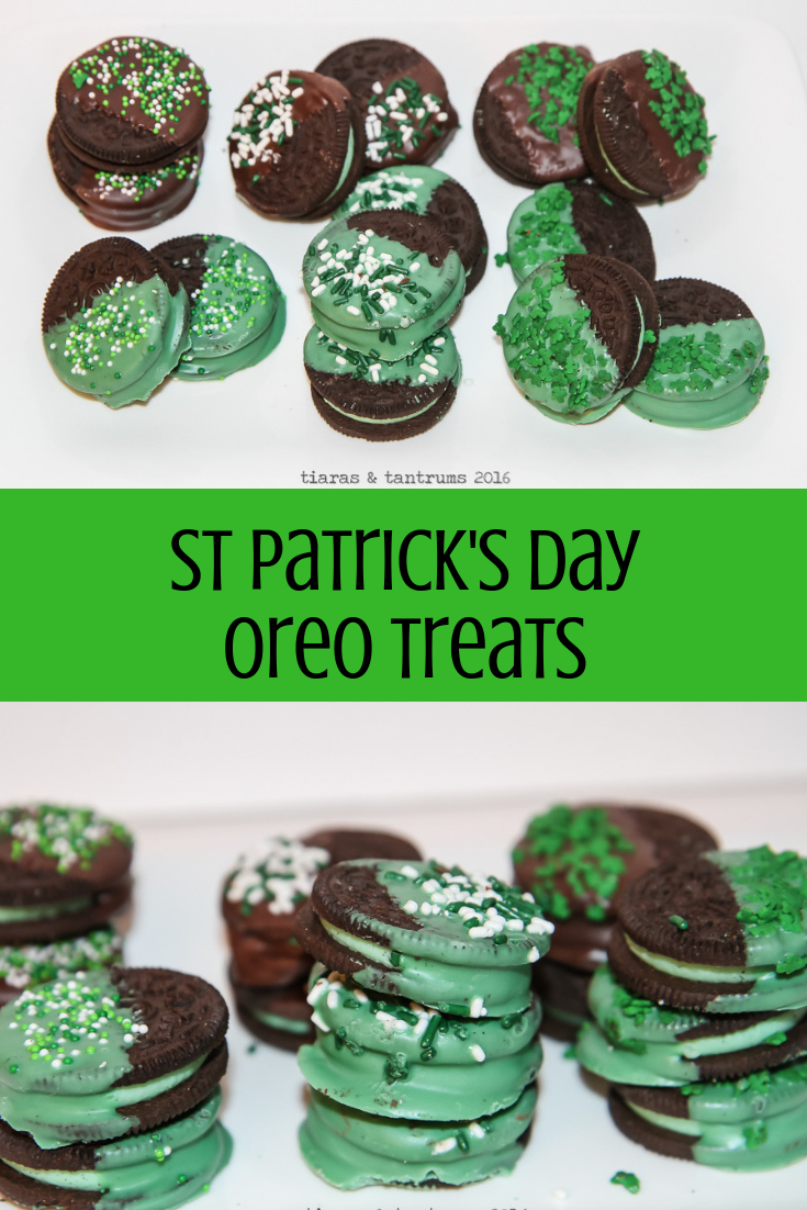 St Patrick's Day Chocolate Dipped Cookie Treats #StPatricksDay  #Chocolatedippedoreos