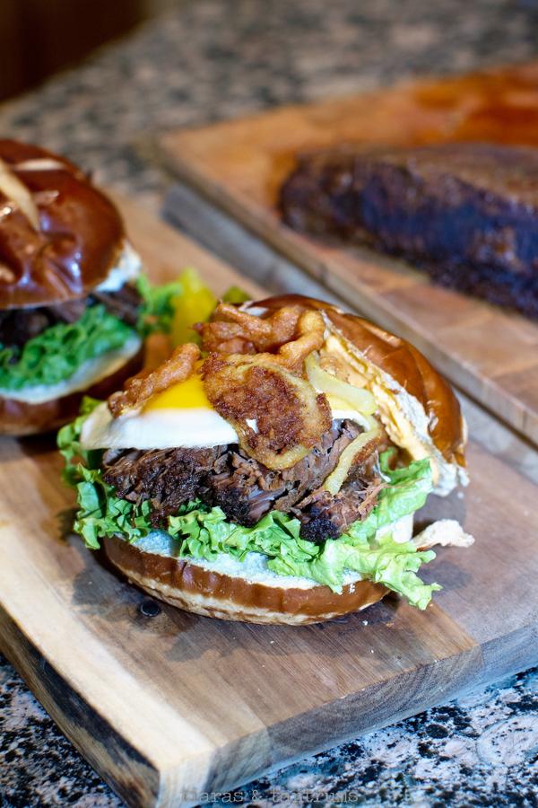 The BEST Best Beef Brisket Sandwich aka: The Best Hangover Breakfast Sandwich #brisket #smokedbrisket #beefbrisket #beefbrisketsandwich #sandwich #breakfastsandwich #hangoversandwich