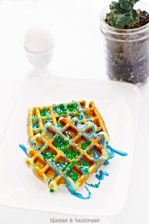 Green St Patrick's Day Waffles #waffles #stPatricksDayWaffles #StPatricksDay #GreenWaffles