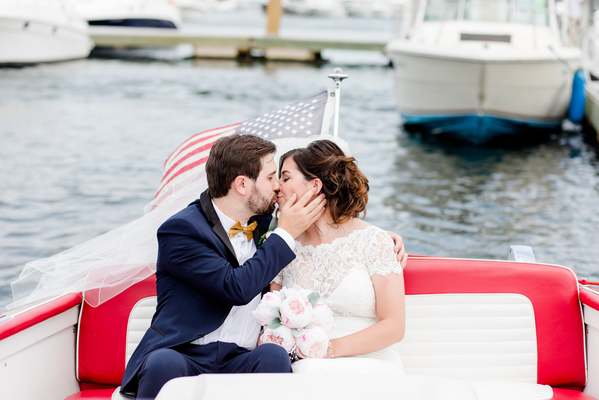 Brianne + James aboard their nautical transport to their Custom House Maritime Museum wedding (Newburyport, MA)
