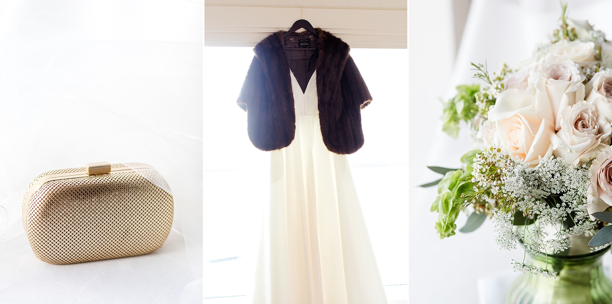 Bridal Details - the mink stole was an heirloom from her Grandmother's