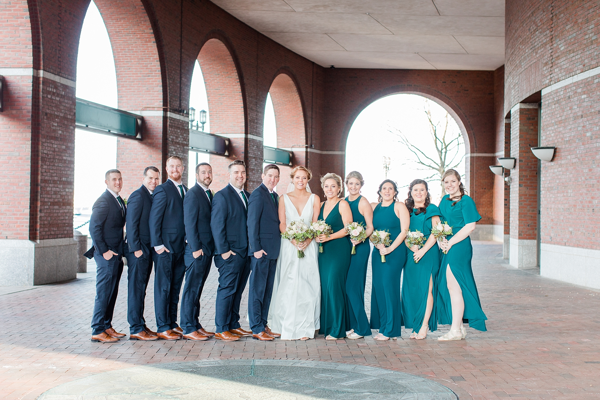 The wind picked up and a chill came in - typical March on the seaport! We were so impressed with this wedding party for sticking it out to get the shot!