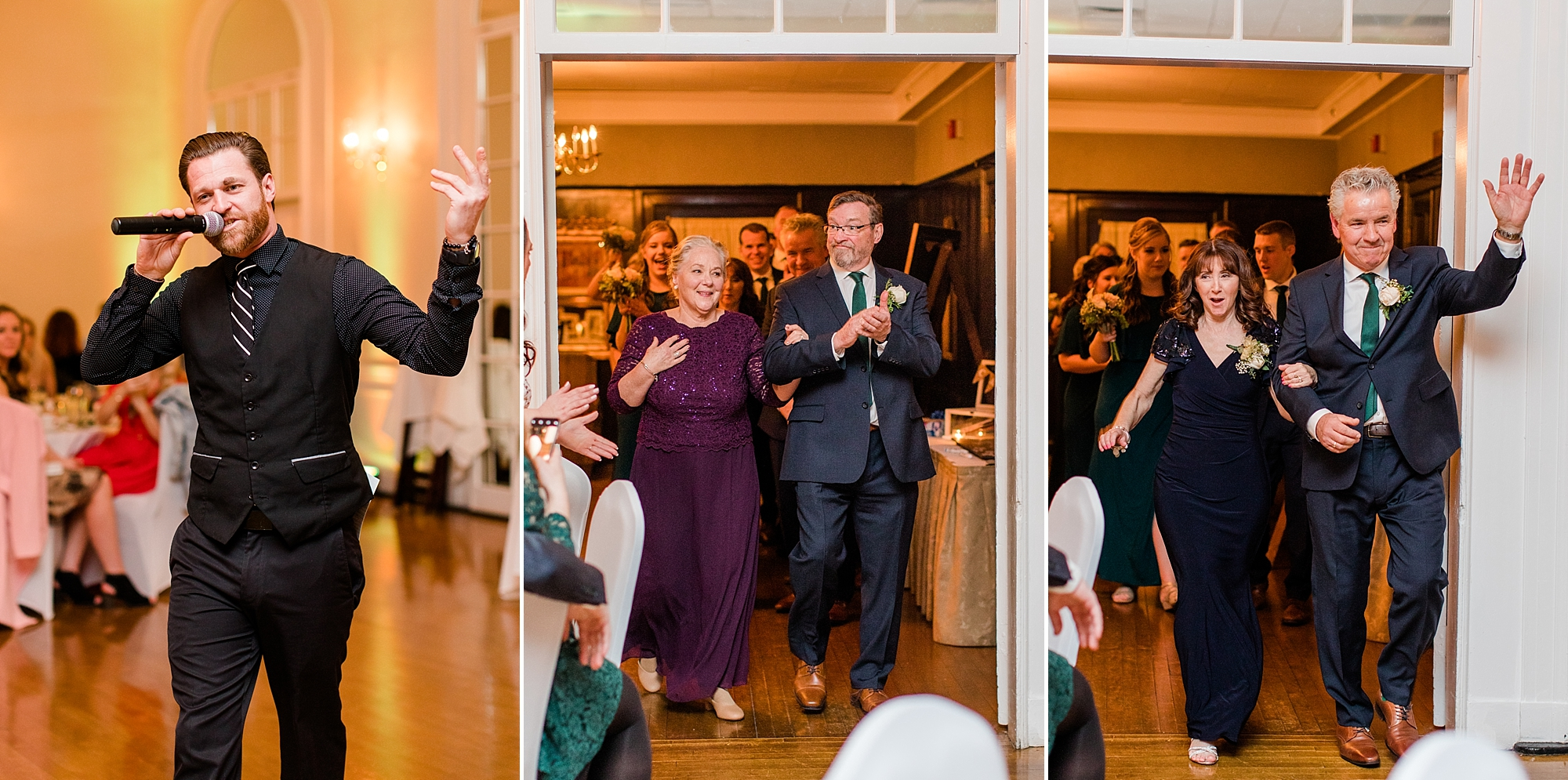 DJ Dane with 617 Weddings opened the night by having everyone stand up to greet the wedding party! First up were the parents of the sweet couple!