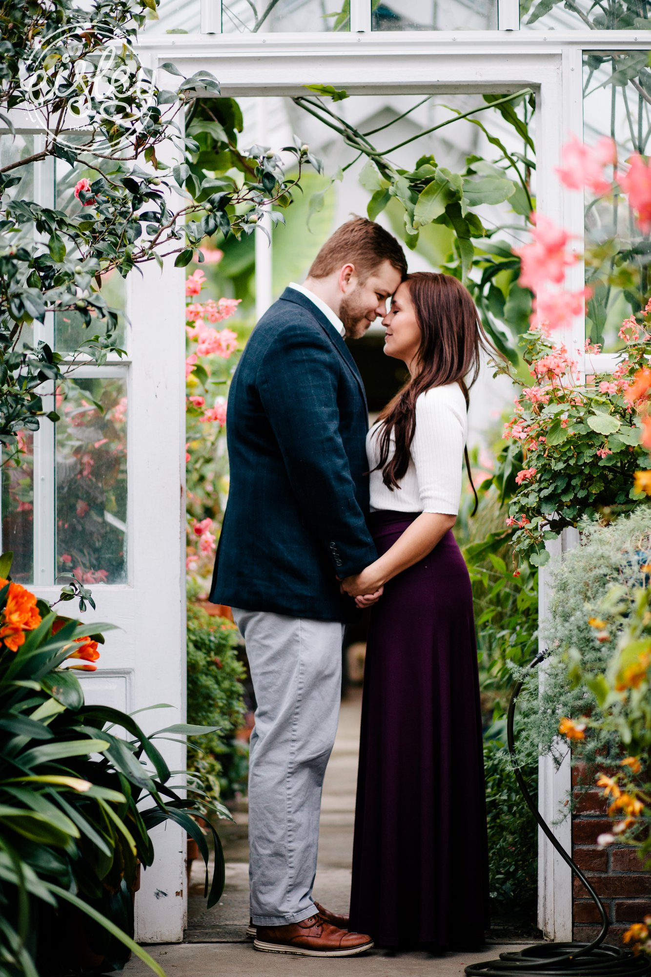 Justine + Brian embrace during their engagement session at Blithewold Mansion, Gardens & Arboretum (Bristol, RI)