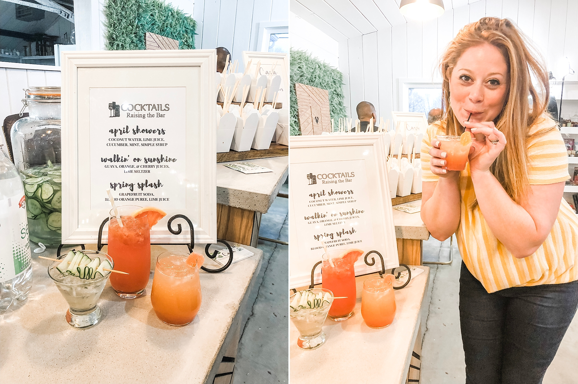 Jenny with All Aboard Event Planning sipping on mocktails!