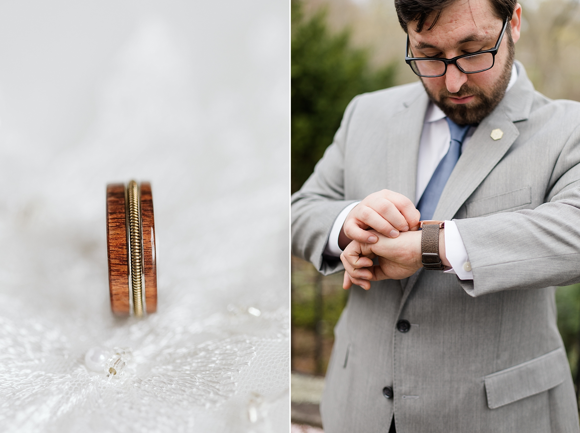 Can you guess what's in the middle of his wedding band? Keep scrolling to find out