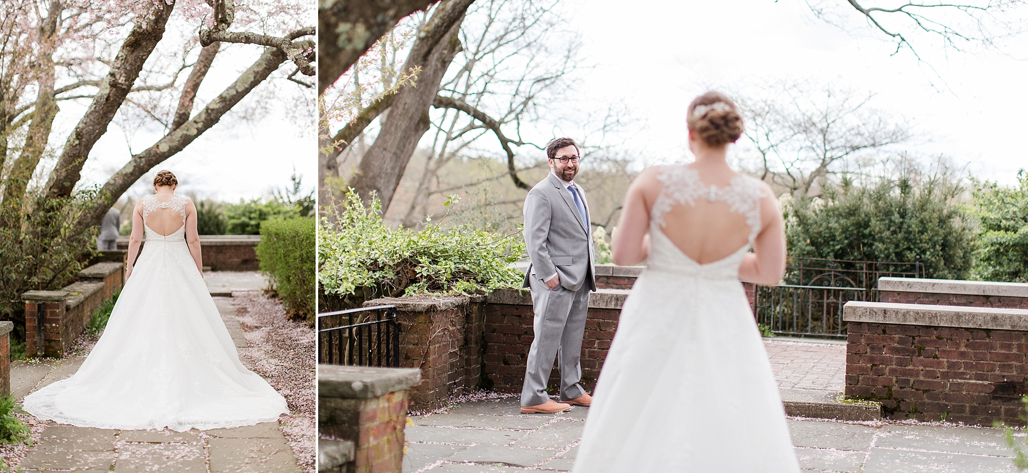 Tori taking a deep breath in before her first look with Nunzio at the Old North Bridge in Concord, MA