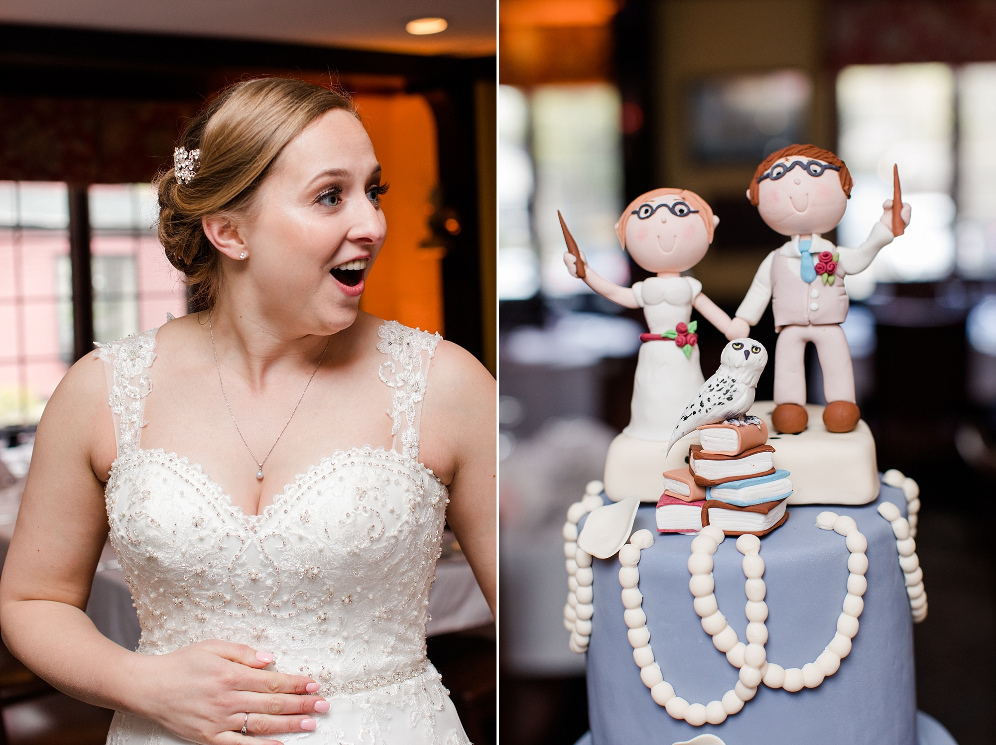 First look with her wedding cake! You can imagine how much we loved the Harry Potter cake topper!