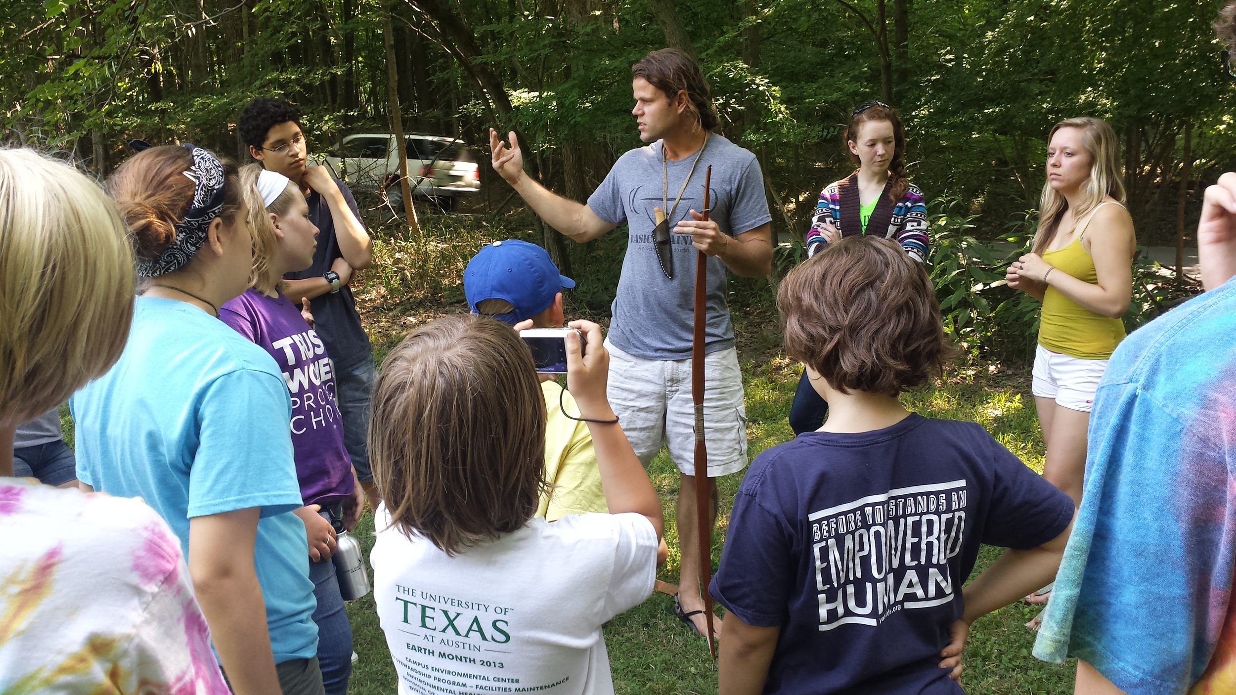 Matt Shull of White Pine Wilderness Academy talks with campers about nature connectivity.