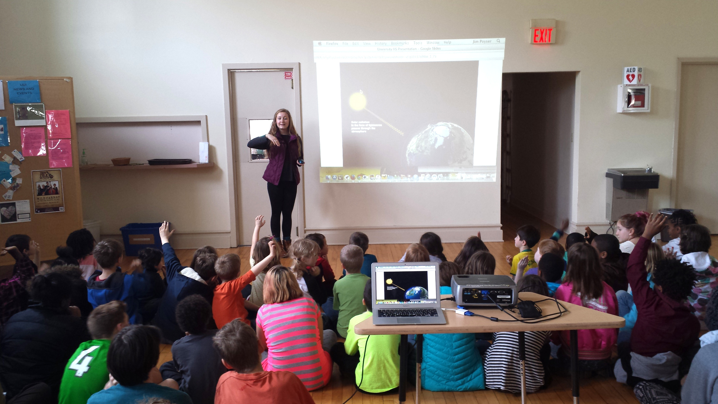 In early 2016, Maddie Adkins, who created the Promise Project in Carmel, spoke at numerous venues in Indianapolis, including School for Community Learning. Students there learned about climate change, and the Climate Recovery actions kids can take.