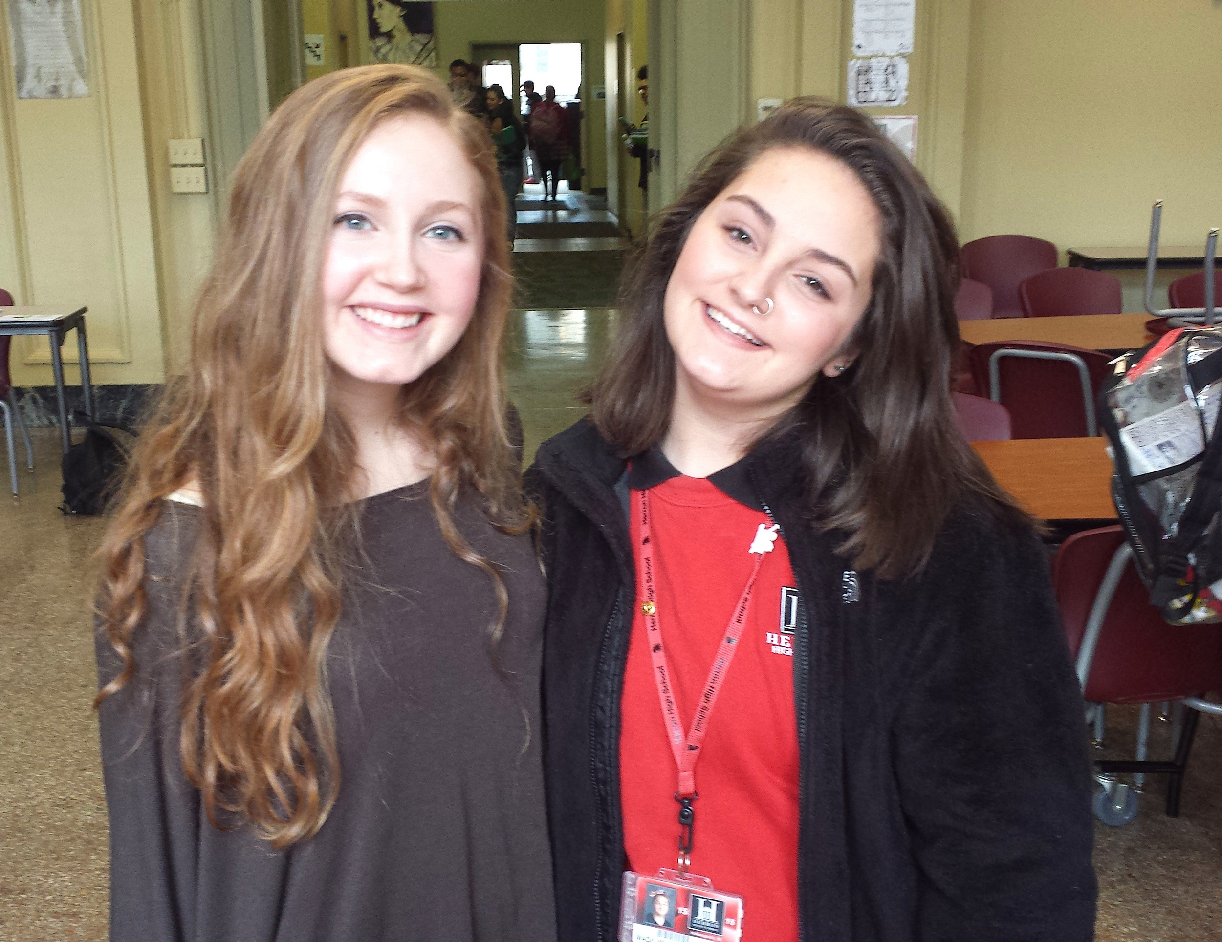 Two youth leaders, both named Maddie: Maddie Adkins from Carmel (left) and Maddie Brooks of Indianapolis. Adkins spoke at Brooks' school, Herron High School, in the spring of 2016, to enlist the help of more teens