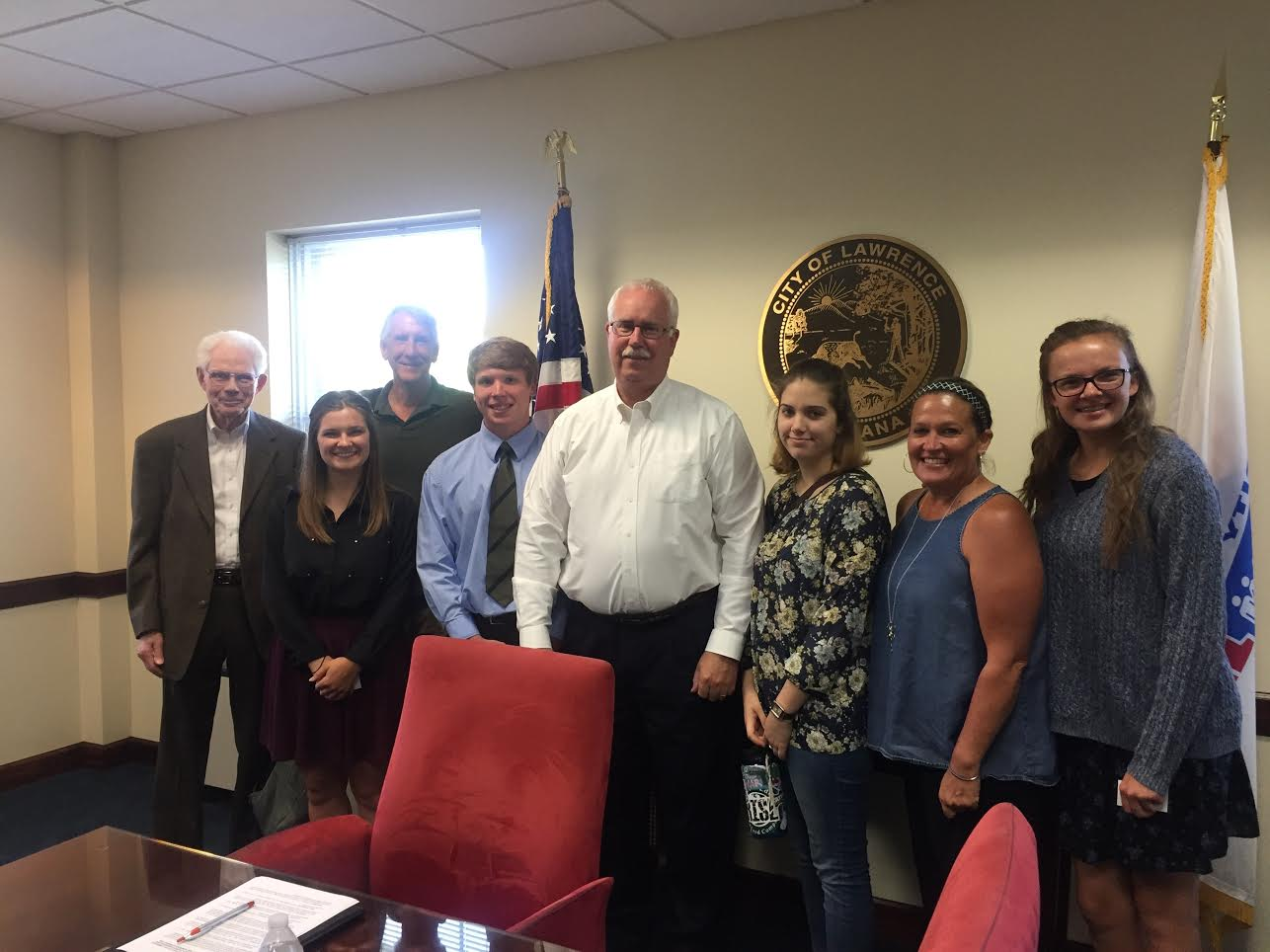 As part of our intergenerational approach, this photo was taken on June 5 in a meeting we had with Mayor Collier, center, white shirt. Mayor Collier was busy working on the Resolution and needed some input.