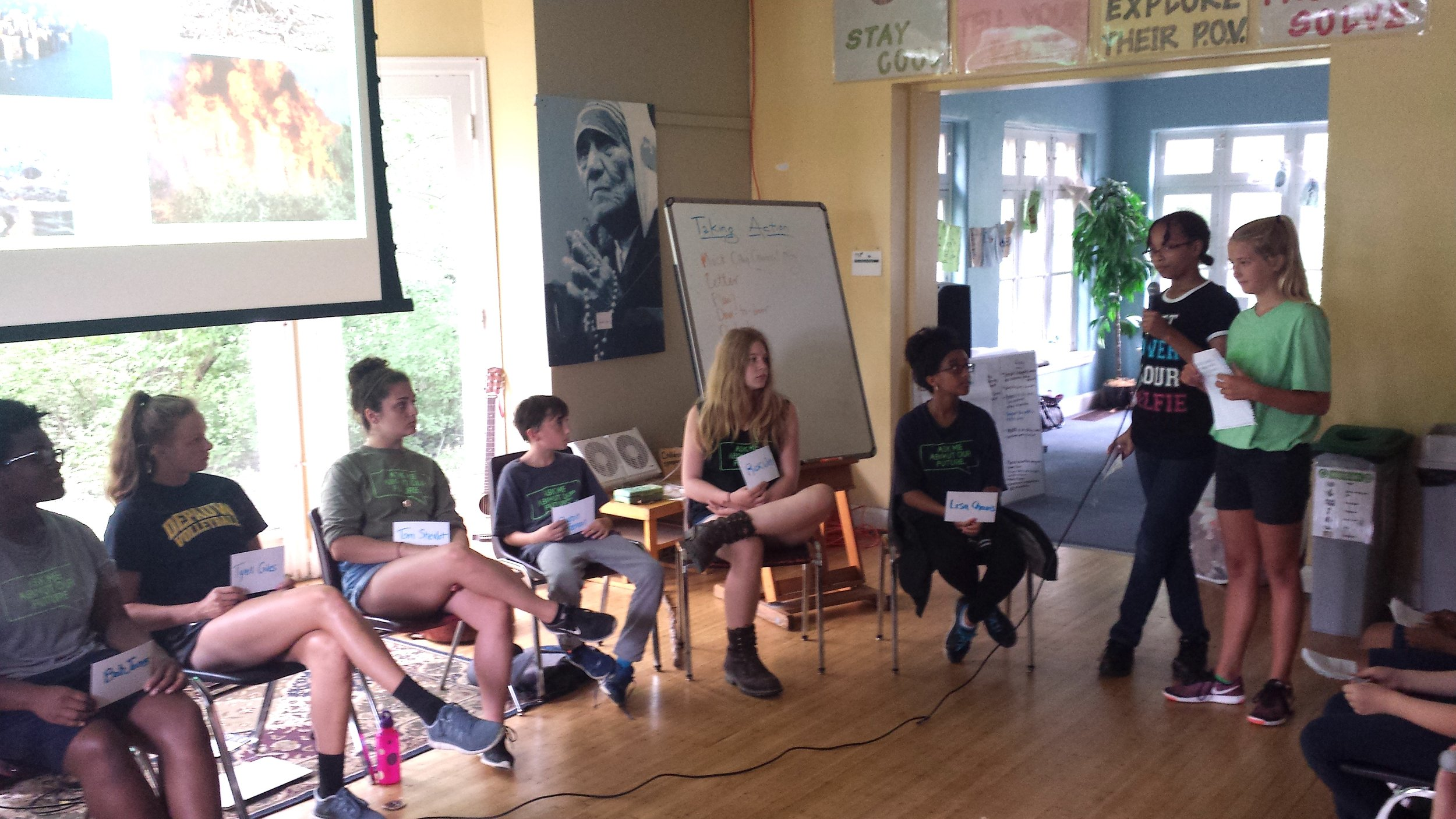 At Climate Camp this summer, campers helped Oaklandon kids prepare for their testimony in a mock city council setting.