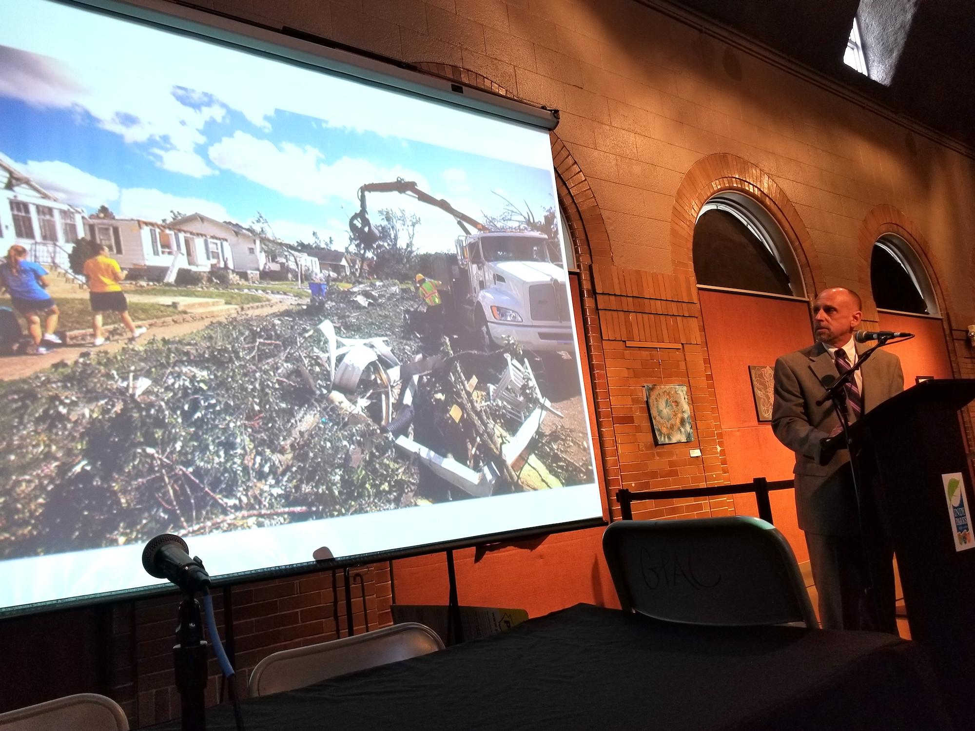 Kokomo Mayor Greg Goodnight shares images of the tornado that struck his city during last year's inaugural Climate Leadership Summit.
