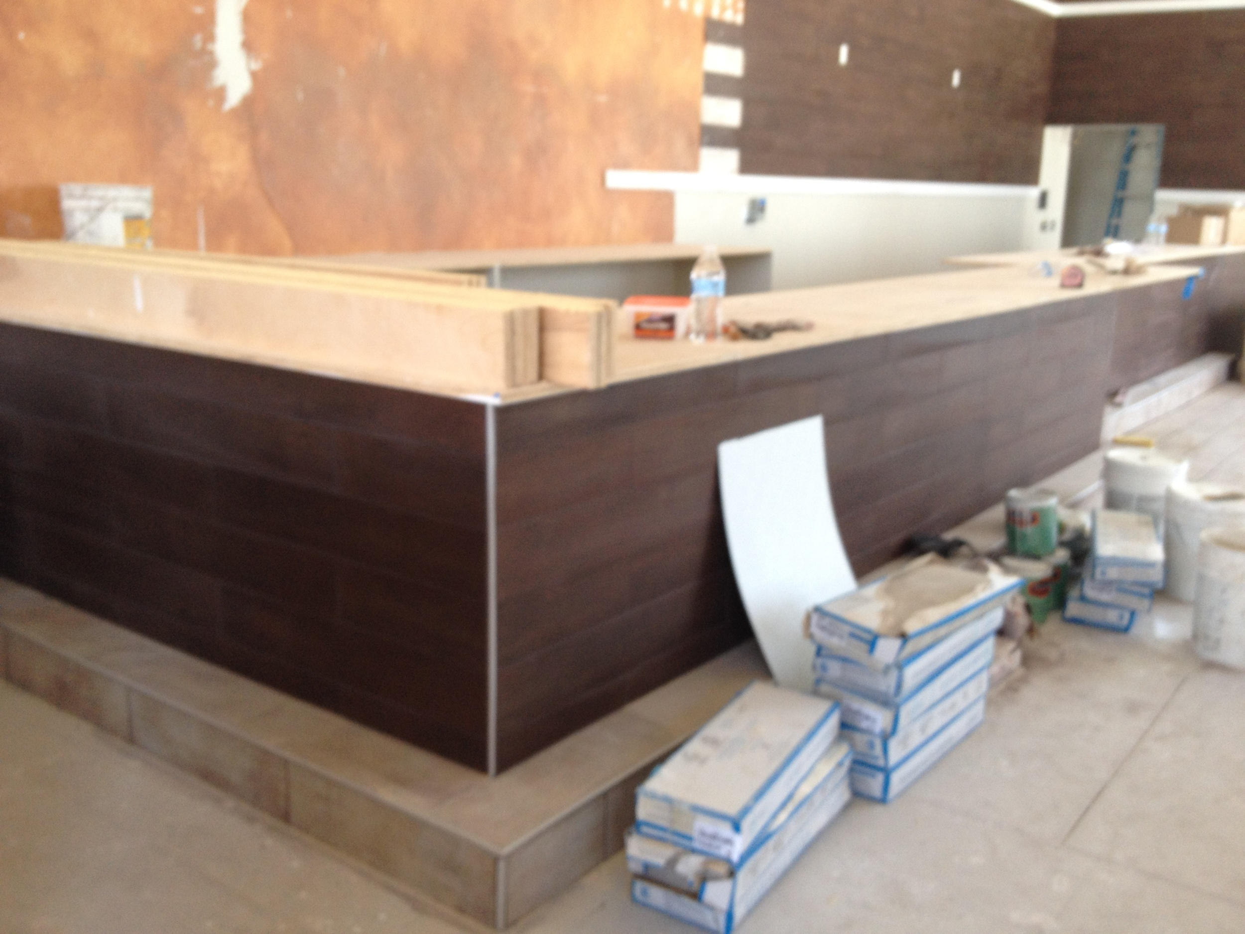 The front of the sushi bar seating