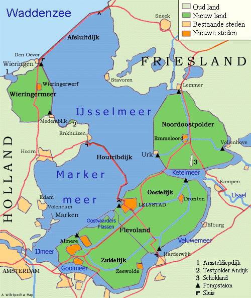 Current situation in the Netherlands with in deep green the three created polders.