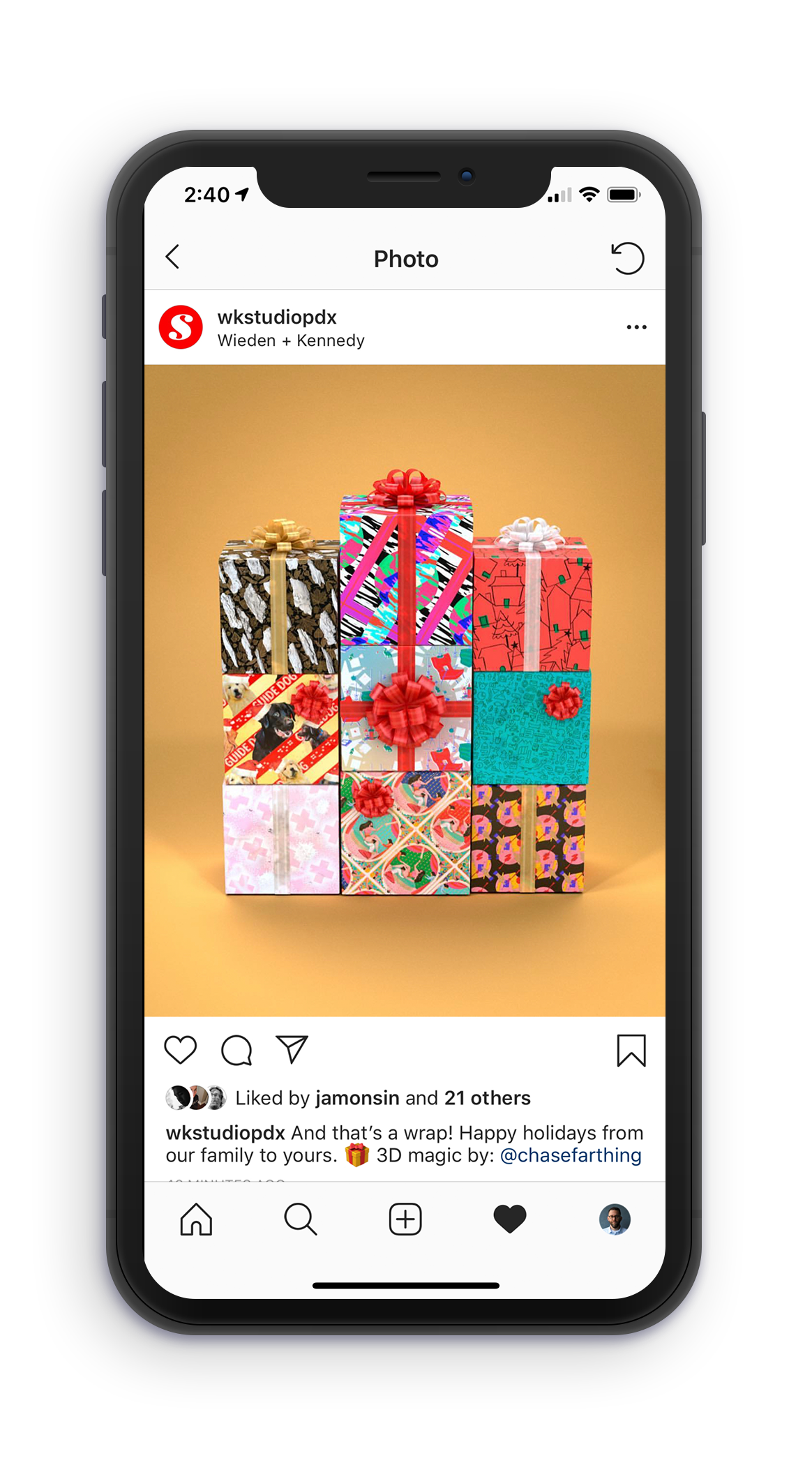 All nine designs can be seen in application wrapped around gift boxes from the Wieden+Kennedy studio Instagram account.
