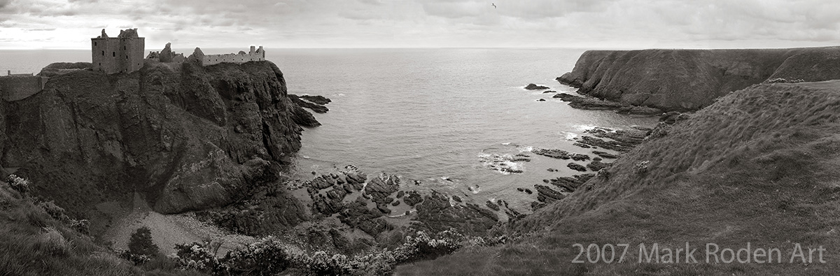 Dunnottar Castle, from the abandoned trebuchet site across the way.