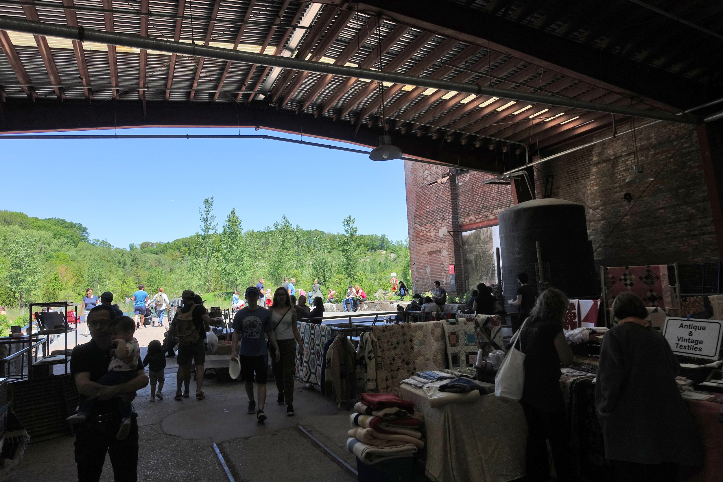 The Evergreen Brickworks on a weekend near the back of the farmer's market.