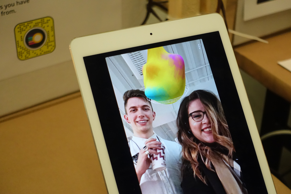 He created a series of working Snapchat AR filters allowed visitors to experience his thesis in the space around them. These floating, multi-coloured blobs are representations of your emotional states at specific points in time to help you become more aware and attuned to yourself.