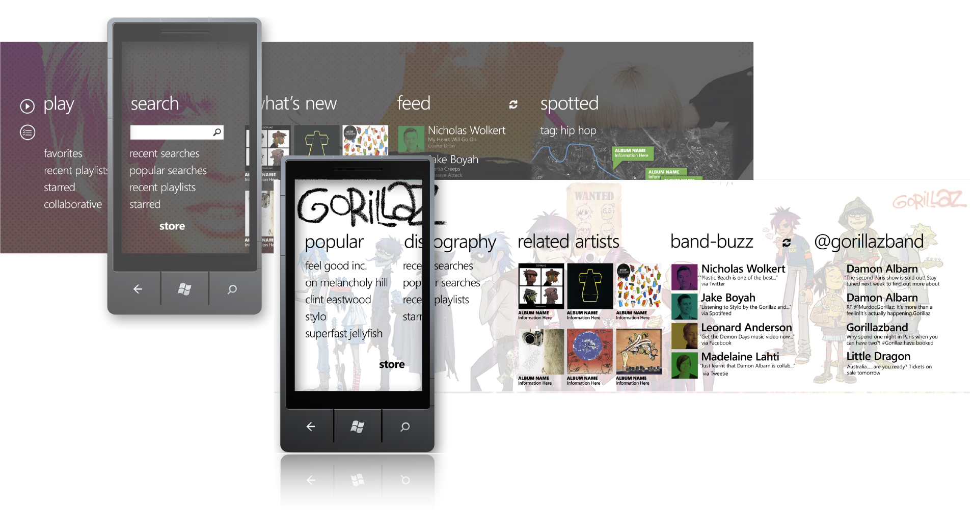 The early challenge for Windows Phone was to leverage their innovative new design language 'Metro' to do justice to Spotify's core - a social, rounded, music experience.